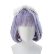 DAYISS Purple Grey Bob Wig Short Straight Harajuku Neat Bang Costume Party Hair