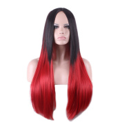 DAYISS Black Red Gradient Ombre Full Wig Women Long Curly Straight Cosplay Hair