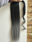60cm Straight Wavy Curly Ombre Wrap Around Ponytail Synthetic Clip in Hairpieces 95g
