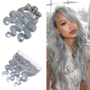 Tony Beauty Hair Sliver Grey Hair Bundles With Lace Frontal Closure With Baby Hair Body Wave Hair Weft With 13x 4 Ear To Ear Full Lace Frontal 4Pcs/lot