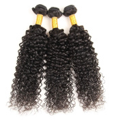 MAXWELL 1 Bundle Remy Virgin Human Hair Double Weft Extensions Unprocessed Kinky Curly 60cm Natural Black