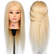 Neverland Beauty 50cm 90% Real Human Hair Hairdressing Cosmetology Training Head Blue Eyes Blonde Mannequin Head Hairdresser Training Head w/Clamp For College and Professional Use #613