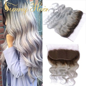 Sunny Top Ombre Grey Lace Frontal Closure Swiss Lace Body Wave Ear to Ear Lace Frontal 13x 4 36cm With Baby Hair