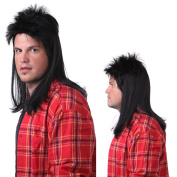 Sepia Costume Mullet Synthetic Wig - Black
