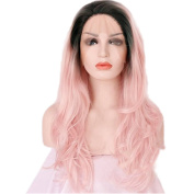 Besgo 60cm long Wave Curly Black to Pink Wig for Women Daily Costume Party Cosplay with Wig Cap