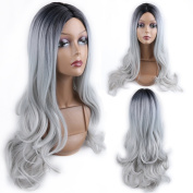 HANNE Ombre Colour 1B/Grey Long Curly Wig Heat Resistant Synthetic Cosplay Wig Full Wig for Women Party Wigs
