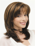 Finders Wigs Brown Medium Wavy Wigs Natural Heat Resistant Synthetic Hair Wigs For Women 36cm
