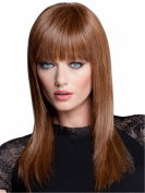 Finders Wigs Brown Medium Long Straight Wigs Natural Heat Resistant Synthetic Hair Wigs For Women 41cm