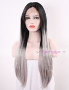 Tripal Hairs 2 Tones Synthetic Lace Front Wig Ombre Grey Straight Wig Dark Roots Heat Friendly Half Hand Tied Fibre Hair 60cm