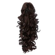 Ovonni Claw Clip Long Ponytail European Curly Hair Synthetic High Temperature Fibre For Women 41cm Brown