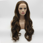 Lushy Cheap Wavy Long Brown Blonde Mix Colour Wigs Full Density Half Hand Tied Heat Friendly Synthetic Hair Lace Front Women Natural Wigs