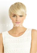 Exvogue Pixie Cut Short Blonde Wigs for Women 100% Remy Straight Brazilian Virgin Human Hair Wig with Crown Skin Part Non Lace #613 Colour