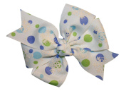 WD2U Girls Frozen Snowflake Dotted Grosgrain Christmas Hair Bow French Clip USA