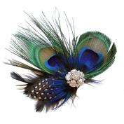 Handmade Wedding Peacock Feather Hail Clip, Fascinator Headband for Fancy Party