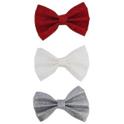 Lux Accessories Christmas Xmas Red White Silver Glitter Bow Hair Clips