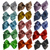 Bzybel Baby Girls Boutique Grosgrain Ribbon Hair Bow Clips 15cm Newborn Small Hairbows With Alligator Clips Pack Of 15pcs