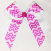 Two Layer Hair Bow with Pink Chevron, Made in the USA, 7.6cm French Clip