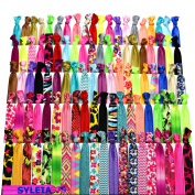 Syleia 100 Hair Ties - Printed Patterns and Solid Colours - Plus Bonus - Elastic Ponytail Holders No Crease Hand Knotted Fold Over Assorted 100 Pack
