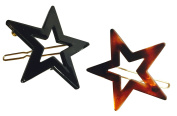 Parcelona French Twin Star Set of 2 Brown Shell N Black Hair Slide Barrette with Snap on Clip for Girls