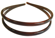 Parcelona French Duo Wide Tortoise Shell Brown Celluloid Acetate Hair Headband