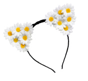 Merroyal Daisy Cat Ears Flower Headband Hairband Hen Party Bride Hair Fancy Dress
