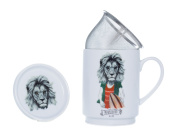 The CIJA The Hipster Zoo Mr. Lion - Tea Porcelain with Stainless Steel Filter, White