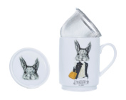 The CIJA The Hipster Zoo MS. Squirrel - Tea Porcelain with Stainless Steel Filter, White
