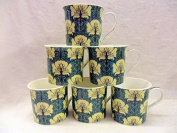 Set of 6 China Palace Mugs in moonflower design