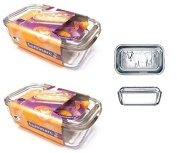 2 x Luminarc Embossed Cow Large Glass Cheese Butter Dish With Lid 17cm x 10.5cm by Luminarc