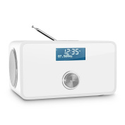 Auna DABStep DAB/DAB+ Digital Radio Bluetooth Wireless RDS FM Tuner AUX Input Alarm Clock (Alarm with Adjustable Interval Sleep Timer and Snooze Funtion, LCD Display, 2-Band Equaliser) White