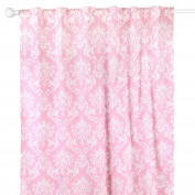 Pink Damask Print Window Drapery Panels - Set of Two 210cm by 110cm Panels