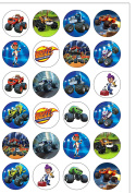 24 Precut 40mm Round Blaze and The Monster Machines Edible Wafer Paper Cake Toppers