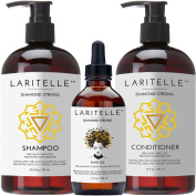 Laritelle Organic Hair Growth Set | Shampoo 500ml + Conditioner 470ml + Hair Loss Treatment 120ml | Argan Oil, Rosemary, Ginger & Cedarwood | NO GMO, Sulphates, Gluten, Alcohol, Parabens, Phthalates