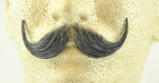 Handlebar Moustache DARK GREY - 100% Human Hair - no. 2013 - REALISTIC! Perfect for Theatre - Reusable!