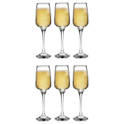 Argon Tableware 'Tallo' Contemporary Champagne Flutes - Gift Box Of 6 Glasses - 230ml