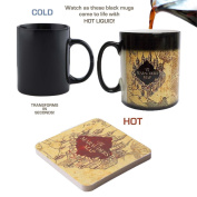 Harry Potter Marauder's Map Colour Changing Magic Black Heat Sensitive Coffee Mug with Free Coaster- Perfect Valentines/Easter/Summer/Christmas/Birthday/Anniversary Gift