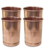 Zap Impex® Receptacle Copper Glass 100% Pure Copper Tumbler Ayurvedic Healing Set of 4