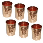 Zap Impex® Receptacle Hammered Copper Glass 100% Pure Copper Tumbler Ayurvedic Healing Set of 6