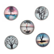 Lovmoment 20MM Glass Natural Scenery Tree Style Snap Button Jewellery Charms