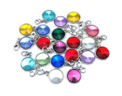 yueton 20pcs Assorted Colour Birthstone Crystal Dangle Charms Pendant with Lobster Clasp Jewellery Making Accessory Fit Floating Locket Charms Necklaces