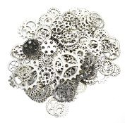 Aokbean 150 Gramme Assorted Vintage Silver Metal Steampunk Jewellery Making Charms Cog Watch Wheel