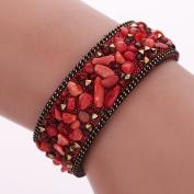 Diamondo Fashion Women Wrap Bracelets Slake Stone Leather Bracelets