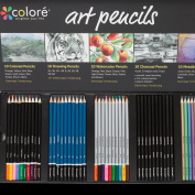 Colore Premium Art Pencils Pack – 50 Assorted Pencil Set For Colouring Pages & Books – Coloured, Watercolour, Drawing, Charcoal and Metallic Colour Pencils For Students, Kids & Adults School Supplies