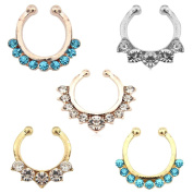 Aoyoho Pack of 5 Clip On Jewellery Fake Septum Clicker Nose Ring Non Piercing
