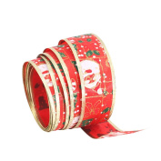Da.Wa Christmas tree Snowman Santa Printing Ribbon Wired Glitter Ribbon Gift Wrapping Party Decoration