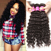 ALI JULIA Wholesale 7A Real Peruvian Virgin Deep Wave Hair Weave 3 Bundles 100% Unprocessed Remy Human Hair Extensions 95-100g/pc Natural Black Colour