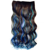 RightOn 50cm Mixed Colour One Piece Long Curly Wavy Synthetic Thick Hair Extension Clip-On Hairpieces