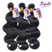 Kapelli Hair(TM) 7A Brazilian Virgin Human Hair Weave 3 Bundles 46cm 50cm 60cm Brazilian Body Wave Remy Hair Extensions Natural Colour