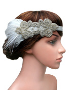 BABEYOND 1920s Flapper Headpiece Roaring 20s Great Gatsby Headband Black Feather Headband 1920s Flapper Gatsby Hair Accessories