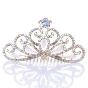 Remedios Colourful Rhinestoned Wedding Flower Girl Tiara Kids Crown Princess Headpiece Hair Comb, Blushing Pink